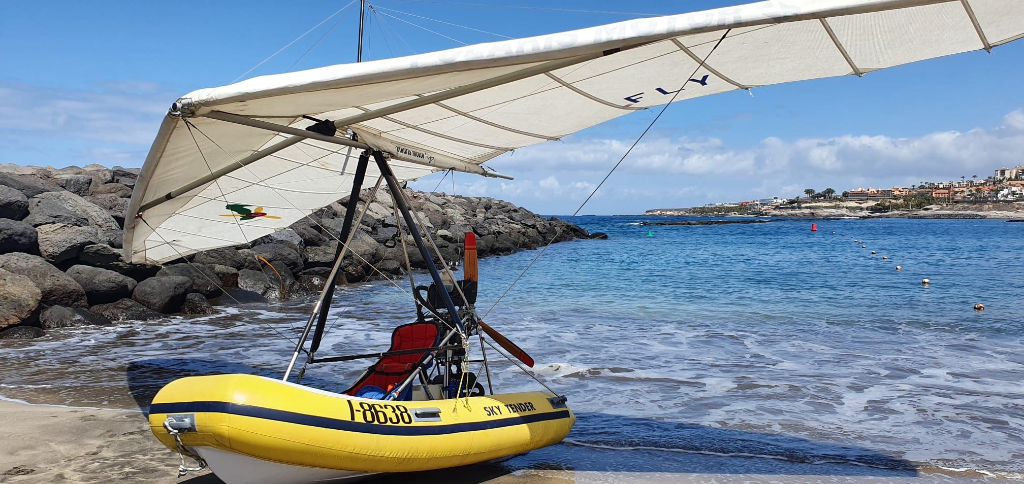 bateau volant sur la plage